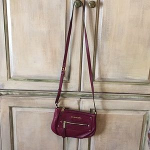 Michael Kors burgundy leather crossbody purse